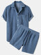 Mens Thin Corduroy Solid Patch Pocket Breathable Short Sleeve Shirt & Shorts - Blue