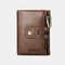Men Genuine Leather Multi-slots Retro Large Capacity Foldable Card Holder Coin Short Wallet - Brown
