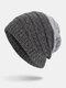 मेन विंटर Plus मखमली धारीदार पैटर्न आउटडोर लंबे बुना हुआ गर्म बेनी टोपी - धूसर