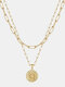 Luxury Layering Paperclip Chain Women Necklace 26 Initials Coin Pendant 14K Gold Plated Necklace Clavicle Chain - Q