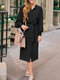Solid Color Long Sleeve V-neck Knotted Midi Dress For Women - Black