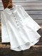 Lässige einfarbige Hemd Revers Kragen Langarm Baumwolle Bluse - Weiß