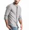 Mens Cotton Striped Long Sleeve Henry Collar Loose Fit Casual Shirt - Grey