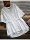 Solid V-neck Short Sleeve Knotted Button Women Blouse - White