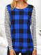 Plaid Striped Print Patchwork Long Sleeve Casual T-shirt for Women - Royal blue