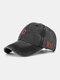 Men Washed Cotton Letter Pattern Baseball Cap Outdoor Sunshade Adjustable Hat - Black