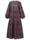 Print O-neck Puff Sleeve Plus Size Casual Dress for Women - Purple