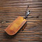 Men Genuine Leather Keychains Coin Purse Wallet - Yellow 2