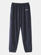 Mens Loungewear Pants Cotton Beam Foot Thin Comfortable Casual Home Trousers - Navy