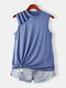 Cut Out Solid Half-Collar Plus Size Tank Top - Sky Blue