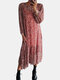 Floral Print O-neck Long Sleeve Plus Size Dress for Women - Red