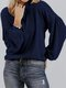 Solid Color Lantern Sleeves O-neck Casual Sweater For Women - Navy