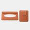 Multifunctional Leather Car Storage Bag Visor Cover Card License Holder Hanging Tissue Bag Glasses Folder - Brown 2