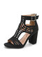 Women Casual Hollow Out Solid Color Peep-toe Pumps Shoes Back-zip Chunky Heels - Black
