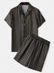 Men Stripe Print Faux Silk Pajamas Set Two Pieces Thin Breathable Casual Loungewear - Black