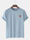 Mens 100% Cotton Strawberry Printed Round Neck Casual Short Sleeve T-shirts - Light Blue