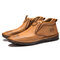 Menico Men Hand Stitching Slip Resistant Soft Sole Casual Leather Boots - Brown