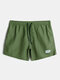 Mens Solid Color Quick Dry Holiday Swim Trunk With Lined - Dark Green
