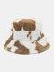 Women & Men Wool Soft Warm Casual All-match Cute Cow Pattern Bucket Hat - #03