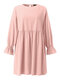 Solid Color O-neck Lantern Sleeve Plus Size Pleated Dress for Women - Pink
