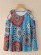 Leopard Print Tie Dye Off-shoulder Long Sleeve Women T-shirt - Blue