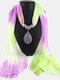 Bohemian Chiffon Gradient Scarf Necklace Drop-Shape Pendant Women Necklace - #08