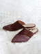 Large Size Women Comfy Pointed Toe Snake Pattern Backless Mules Slippers - Wine Red