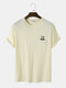 Mens Embroidered Bear Chest Pocket 100% Cotton Cute Short Sleeve T-Shirts - Apricot