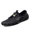 Men Hand Stitching Breathable Microfiber Leather Splicing Mesh Fabric Soft Casual Driving Shoes - Black