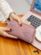 Women Vintage PU Leather Leaf Embossed Money Clips Soft Clutch Bags Wallet Purse - Pink