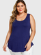 Solid Color Sleeveless Plus Size Casual Tank Top - Blue