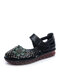 Women Ethnic Flower Decor Hollow Out Comfy Soft Hook Loop Casual Closed Toe Sandals - Black
