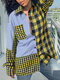 Women Plaid Patchwork Button Pocket Long Sleeve Casual Blouse - Yellow