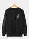 Mens Simple Rose Pattern Cotton Round Neck Casual Loose Pullover Sweatshirt - Black