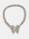 Vintage Exaggeration Full Rhinestone Butterfly-shape Pendant Cuban Chain Alloy Necklaces - #03
