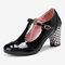 Women Solid Color T-Strap Geometric Graphic Chunky Heel Pumps - Black