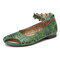 SOCOFY Vintage Cutout Tie-dyed Ankle Flowers Buckle Comfy Soft Flats - Green