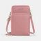 Women 5 Card Slots 7.2inch Phone Bag Solid Crossbody Bag - Rose