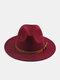 Unisex Woolen Felt Solid Color Rivet Buckle Strap Decoration Thicken Flat Brim Top Hat Fedora Hat - Wine Red