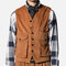 Mens Casual Retro Cotton Slim Vests Multi-procket Corduroy Sleeves Coat Tops