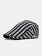 Men Cotton Linen Contrast Color Striped Pattern Retro Forward Hat Beret - Black