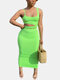 Solid Color Off-shoulder Sleeveless Casual Backless Suit for Women - Green