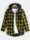 Mens Fleece Lined Classical Plaid Cotton Thick Warm Hooded Shirts - Yellow
