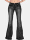 Solid Color Mid Waist Bell-bottoms Casual Jeans For Women - Black