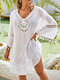 Tassel Hollow Solid V-neck Loose Summer Holiday Blouse - White
