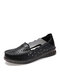 Women Stitching Carved Hollow Out Soft Comfy Slip On Loafers Casual Flat Shoes - Black