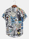 Mens Funny Ghost Print Halloween Button Up Short Sleeve Shirts - White