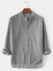 Mens Cotton Regular Fit Solid High Low Hem Henley Shirts With Long Sleeve - Grey