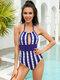 Women Floral Stripe Keyhole Halter Backless One Piece Swimsuit - Blue