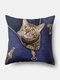 Personalized Zipper Cat Pattern Linen Cushion Cover Home Sofa Art Decor Throw Pillowcase - Blue